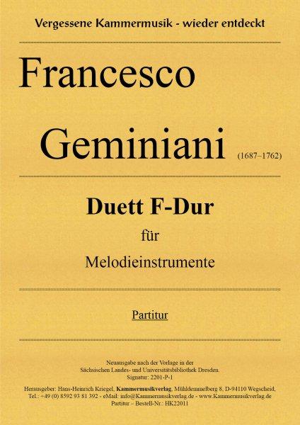 Geminiani Francesco – Duett F-Dur für Melodieinstrumente