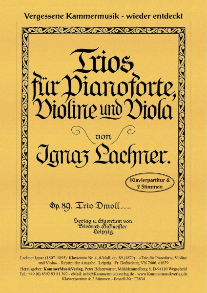 Lachner, Ignaz – Klaviertrio Nr. 4, d-Moll, op. 89