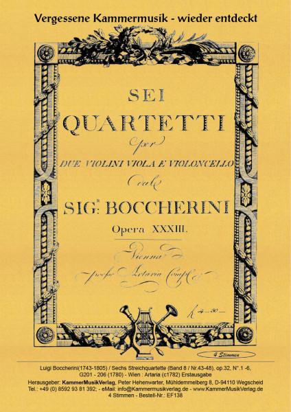 Boccherini, Luigi – 6 Streichquartette (Bd. 8) Nr. 43—48, op. 32, Nr.1—6, G 201—G 206
