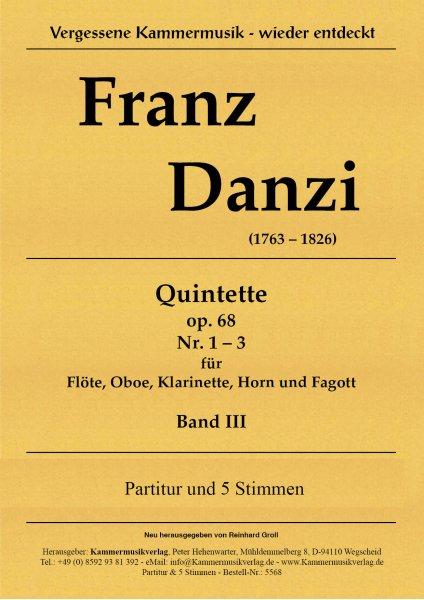 Danzi, Franz – 3 Bläserquintette Nr. 7-9, in A, F, d, op. 68, Nr. 1-3