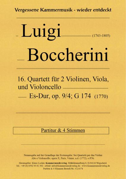 Boccherini, Luigi – 16. Quartett für 2 Violinen, Viola und Violoncello, Es-Dur, op. 9, Nr.4, G 174