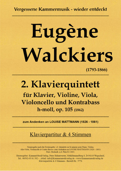 Walckiers, Eugéne – Klavierquintett Nr. 2, h-Moll, op. 105