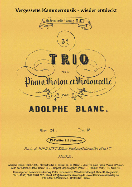 Blanc, Adolphe – Klaviertrio Nr. 3
