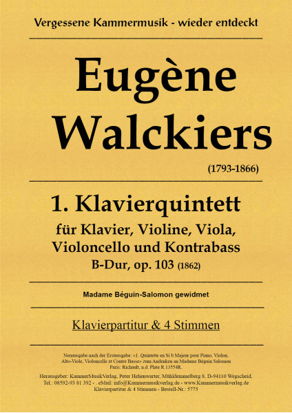 Walckiers, Eugéne – Klavierquintett Nr. 1