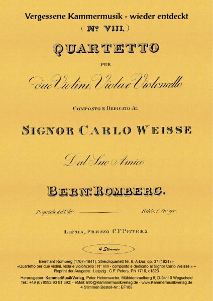 Romberg, Bernhard – Streichquartett Nr. 8, A-Dur, op. 37
