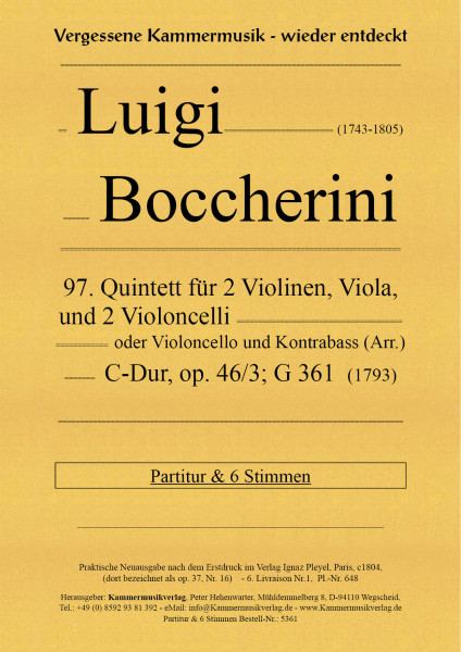 Boccherini, Luigi – 97. Quintett für 2 Violinen, Viola und 2 Violoncelli