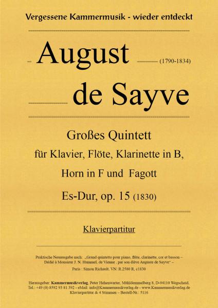 Sayve, August de – Großes Quintett für Klavier und Bläser