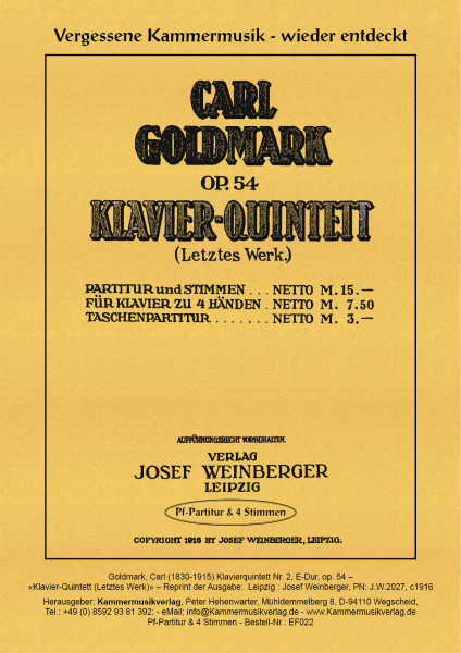 Goldmark, Carl – Klavierquintett Nr. 2, E-Dur, op. 54