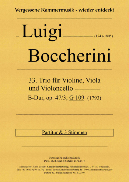 Boccherini, Luigi – 33. Trio für Violine, Viola und Violoncello