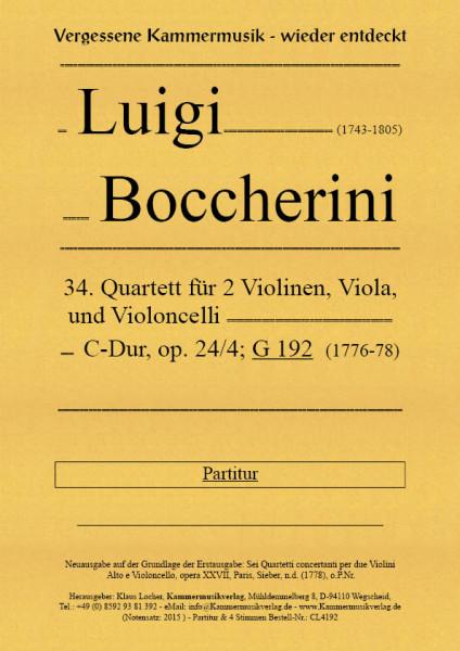 Boccherini, Luigi – 34. Quartett für 2 Violinen, Viola und Violoncello, C-Dur, op. 24-4, G 192
