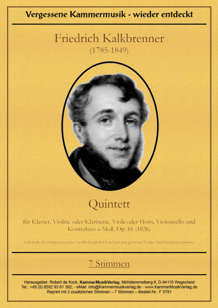 Kalkbrenner, Friedrich – Klavierquintett mit Kb, a-Moll, op. 81