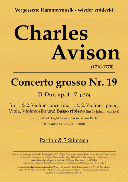 Avison, Charles – Concerto grosso Nr. 19, D-Dur, op. 4-7