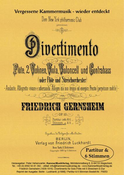 Gernsheim, Friedrich – Solo-Flöte mit Streichquintett oder -orchester, E-Dur, op. 53
