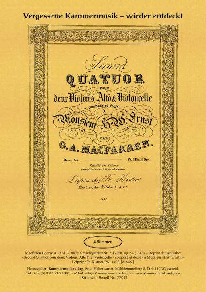 Macfarren, George A. – Streichquartett Nr. 2, F-Dur, op. 54