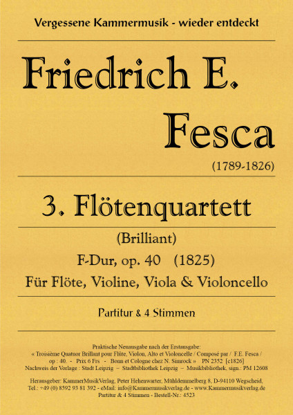 Fesca, Friedrich Ernst – Flötenquartett Nr. 3, F-Dur, op. 40