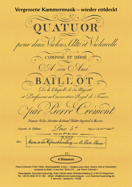 Crémon, Pierre – Streichquartett, G-Dur