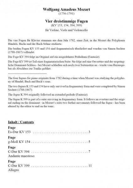 Mozart, Wolfgang Amadeus – Vier dreistimmige Fugen für Violine, Viola und Violoncello
