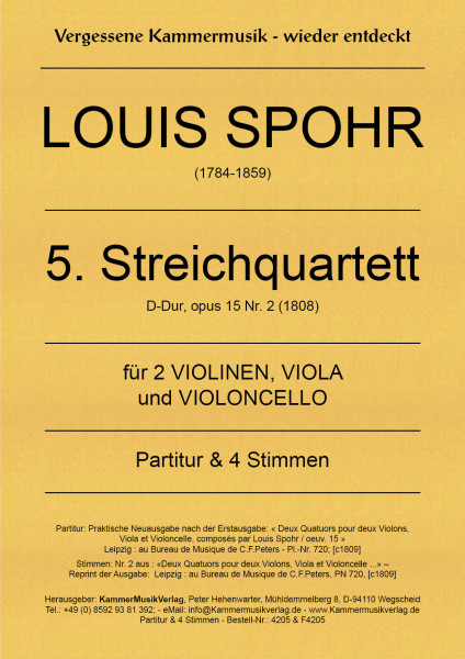 Spohr, Louis – Streichquartett Nr. 5, D-Dur, op. 15-2