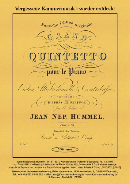 Hummel, Johann Nepomuk – Klavierquintett (Forellen-Besetzung) Nr. 1